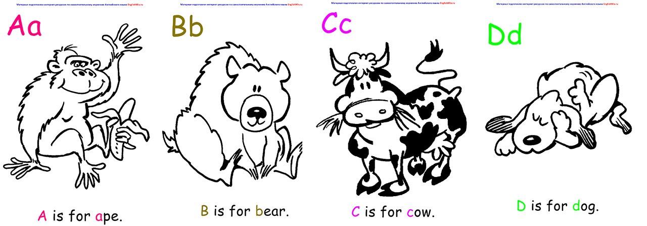 Раскраски английского алфавита для детей. для животных