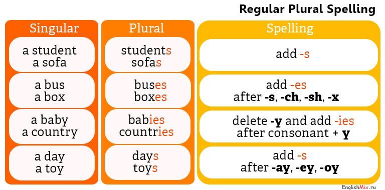 различие между singular and plural nouns.